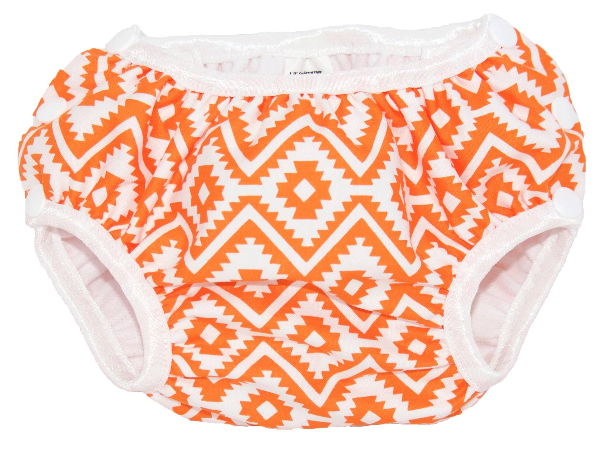 eduardo smart bottoms swim diaper in orange and white print