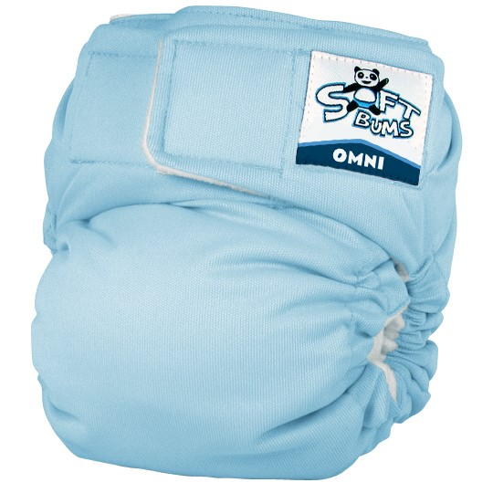 softbums omni cloth diaper shell in Snowcone icy blue color
