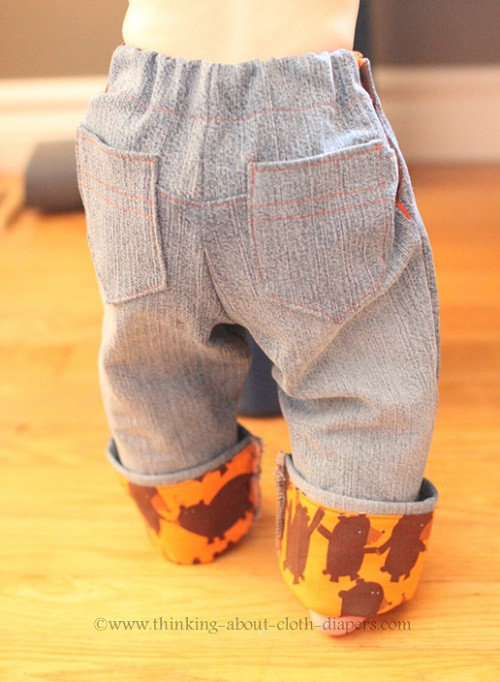 beanstalk britches cloth diaper jeans from back