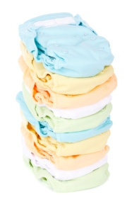 stack of cloth diapers in pastels
