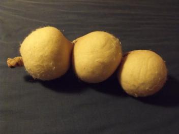 The wool dryer balls will felt in the washing machine