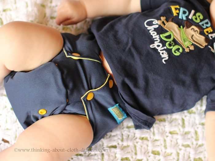 cute blue and yellow cloth diaper from Ella Bella Bum