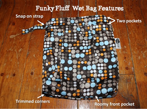 features of funky fluff wet bag