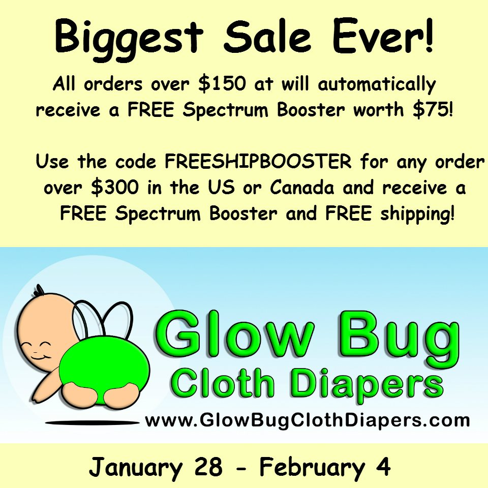 Glow Bug Cloth Diaper Sale - until Feb 4, get 18 pocket diapers for just $150!