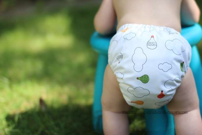 gro-via cloth diaper | wee gallery diaper shell with hot air balloons - Thinking About Cloth Diapers