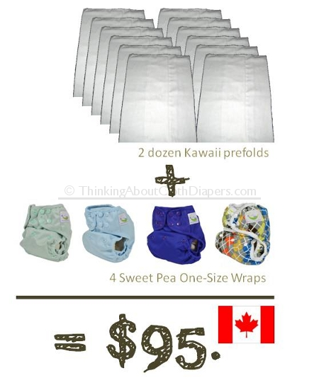 Cheap cloth diapers from Canada - kawaii prefolds plus sweet pea one-size wraps for under $100