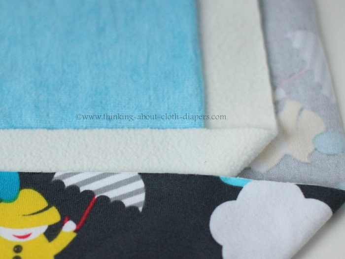 close up of materials used to make hybrid fitted diapers
