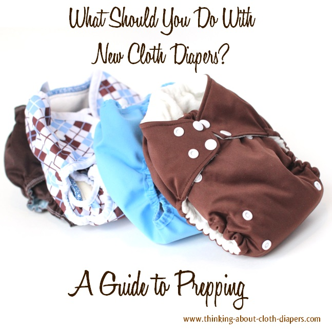 prepping new cloth diapers