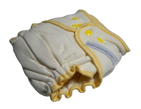 sustainablebabyish sloomb organic cotton and bamboo overnight fitted lemon