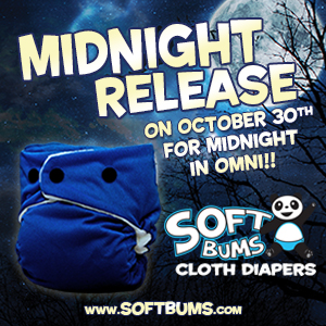 softbums midnight blue cloth diaper with black snaps