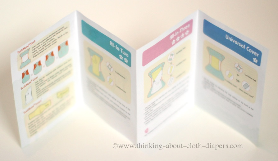 tushmate cloth diaper instruction booklet