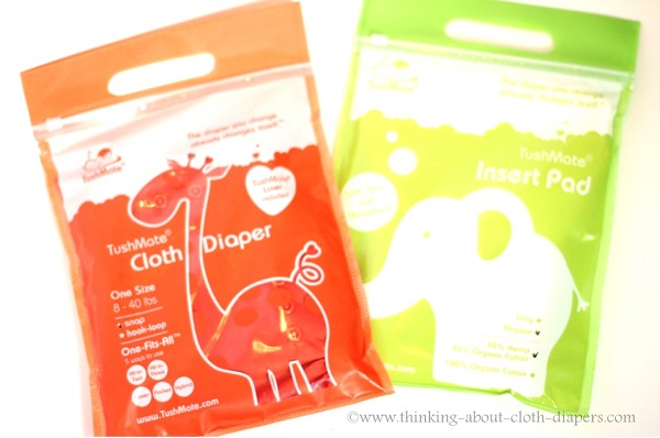 tushmate cloth diapers and inserts in packaging