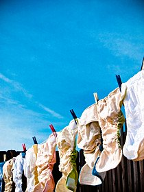 cloth diapers hanging on the clothesline