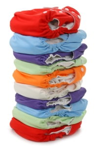 stack of cloth diapers