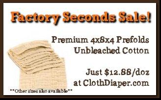 sale - factory seconds prefold cloth diapers