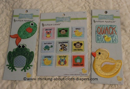 Babyville coordinates appliques and woven tags for cloth diapers