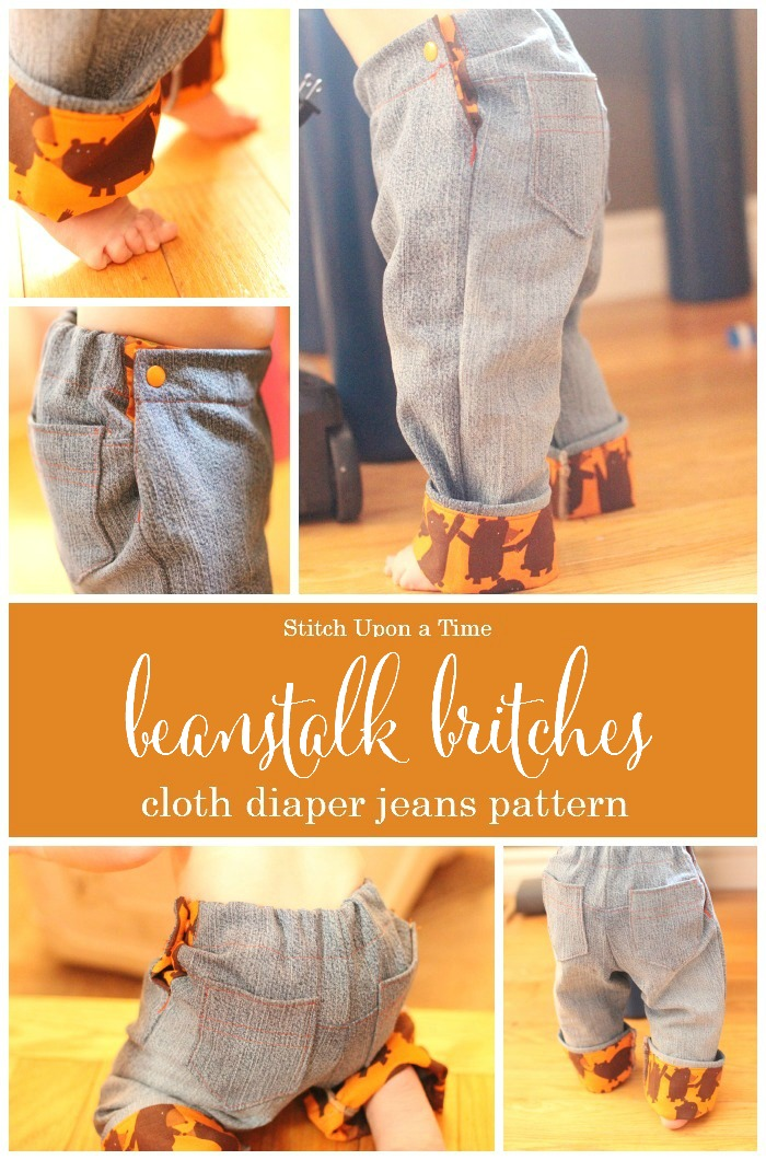 Beanstalk Britches | cloth diaper jeans sewing pattern