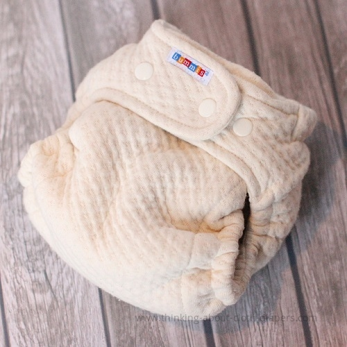 cross-over waist snaps on bummis organic cotton dimple diaper