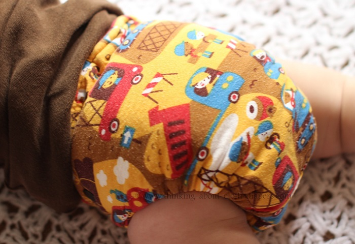 lillestoff construction print on cloth diaper