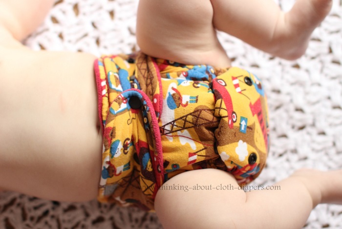 close-up of snap-down rise on butt-ons cloth diaper