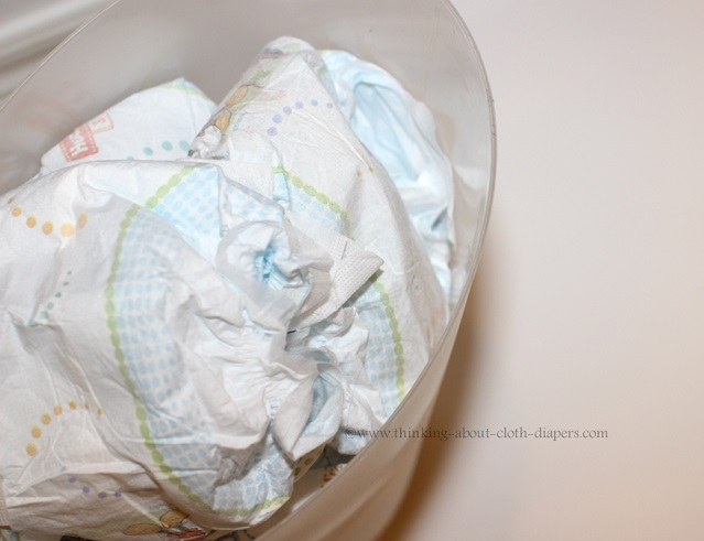 disposable diapers in trash can