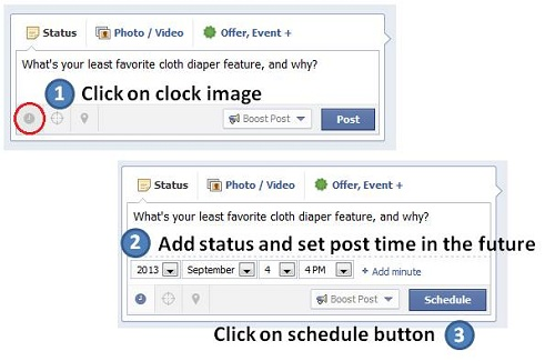 how to use Facebook scheduler to schedule your status updates in advance